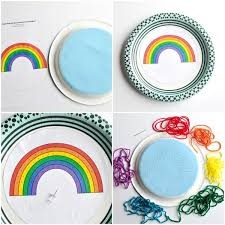 Print Out The Rainbow Yarn Art Pattern Cut And After Paint On Your Paper Plate Has Dried Glue Front Of