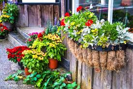 Layers Of Potted Flowers And Rustic Window Box Reclaimed Garden Features At A Hope