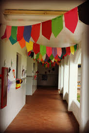 Setting Up Thankfully This Is After The Rain Stopped Each Classroom Also Decorated One Of Those Hanging Triangles For Their Caseta