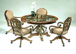 Swivel Dining Chairs With Casters Kitchen Wheels Chair Fabulous