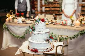Download Rustic Wedding Cake On Banquet With Red Rose And Other F Stock Image