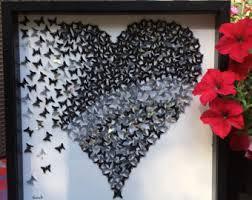 3D Butterflies Heart Wall Art