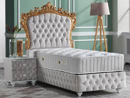 casa padrino barock schlafzimmer set grau weiß silber gold prunkvolles einzelbett mit nachttisch schlafzimmer möbel im barockstil