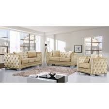 Tufted Velvet Sofa Set by Meridian Furniture 648be S Reese Beige Velvet Sofa W Tufted Back