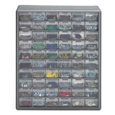 stack on 60 compartment gray storage cabinet for small parts