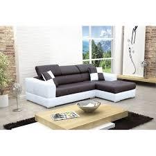 canape d angle droit design noir et blanc madrid achat vente