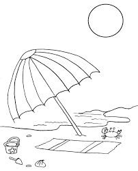 Beach Chair Coloring Pages Umbrella Colouring