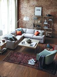 Rustic Modern Industrial Living Room Brick Wall Accent L Shaped