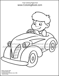 Free Online Coloring Pages Kid In Car