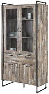 vitrine standvitrine industrial style treibholz look braun