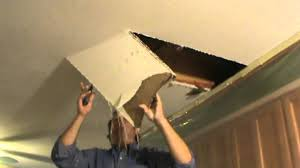 2x2 Sheetrock Ceiling Tiles by Water Damaged Drywall Repair Opening Ceiling Youtube