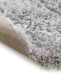 glänzender hochflor teppich lea in hellgrau rund