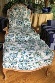 Comfortable Chair And Ottoman In Covington Pattern - Totally Refurbished -  Shipping Rates Vary