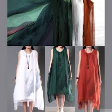 2016 new linen dresses for summer layered silk flown sundresses