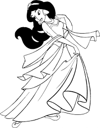 Strikingly Inpiration Jasmine Coloring Page Ariel Holding A Flower On Disney Princesses