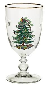 Spode Christmas Tree Pedestal Goblets With Gold Rims Set Of 4