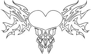 Adult Heart Wings Coloring Pages Tribal Mini