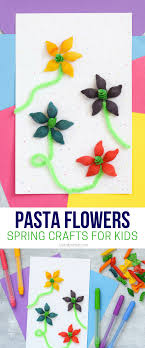 Spring Crafts For Kids Using Colorful Pasta To Make Flowers With Green Pipe Cleaners And A