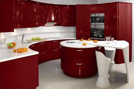 Paint For Kitchen Cupboards Ideas With Drawers Including Microwave In Red Colour Complete Sink And Faucet Near Unique Round Contemporary Island