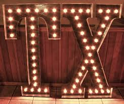 large 48 tx light up letter sign custom state initials