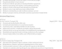 Food Server Resume Objective Examples Waitress Example