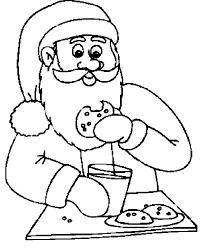 Santa Claus Eating Cookies And Drinking Milk Funny Cartoon