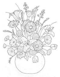 Bouquet Of Flowers Coloring Pages In Throughout