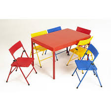 cosco products 7 pc kids pinch free folding table and chair set