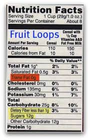 Kelloggs Fruit Loops Nutrition Facts Label