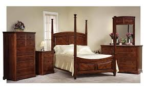 Amish Johnson Bedroom Set With 4 Poster Bed In Rustic Cherry