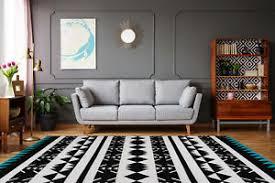 details zu teppich flachflor modern 3d effekt im ethno look schwarz weiß türkis wohnzimmer