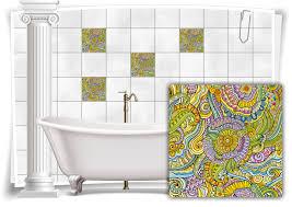 fliesen aufkleber fliesen bild blumen blätter nostalgie floral bunt grün bad wc deko