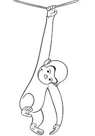 Hanging With One Hand Curious George Coloring Pages