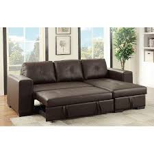 Espresso Faux Leather Sectional Set Pull Out Bed Sofa Chaise
