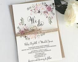 Pink Blush Wedding Invitation Suite Bohemian Invite Set Rustic Floral