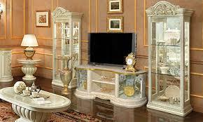 wohnzimmer set tv wohnwand mediawand beige hochglanz stil klassisch italienisch