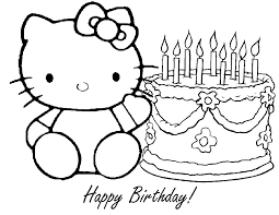 Happy Birthday Coloring Pages Hello Kitty And Cake