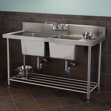 Stainless Steel Laundry Sink With Washboard by Stainless Steel Double Bowl Commercial Console Sink With Shelf