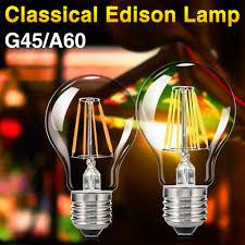 classic edison filament led bulbs glass e27 e26 dimmable globe