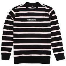 st clair stripe crew sweatshirt in black multi by obey clothing