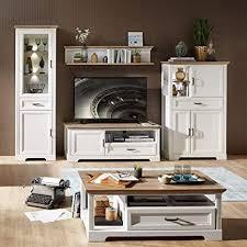 lomadox wohnzimmer landhaus wohnwand in pinie weiß und