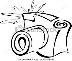 Black and white contour photo camera vector illustration clipart