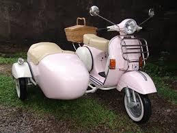 Vespa PX Pink White Sidecar 1979