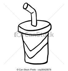 Black And White Cartoon Soda Vector