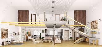 cuisine loft modern loft apartment interior in cut living room kitchen