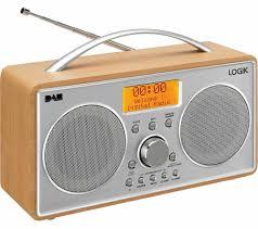 logik l55dab15 portable dab fm clock radio silver wood