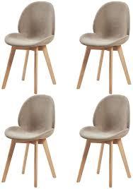 dorafair 4er set skandinavisch esszimmerstuhl küchenstuhl polsterstuhl retro design stuhl stoff baumwolle leinen mit solide buchenholz bein grau
