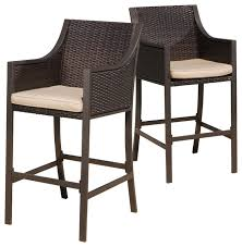 Rani Brown Outdoor Bar Stools Set of 2 Contemporary Outdoor