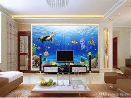 großhandel benutzerdefinierte größe 3d fototapete wohnzimmer wandbild unterwasserwelt schildkröte hintergrund wand 3d bild sofa tv tapete wandbild