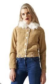 womens vintage detachable fur padded collar sand cotton corduroy